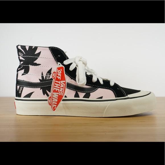 9dbd8160d69e Women s Vans Sk8-hi Pink Black Palm Tree Shoes